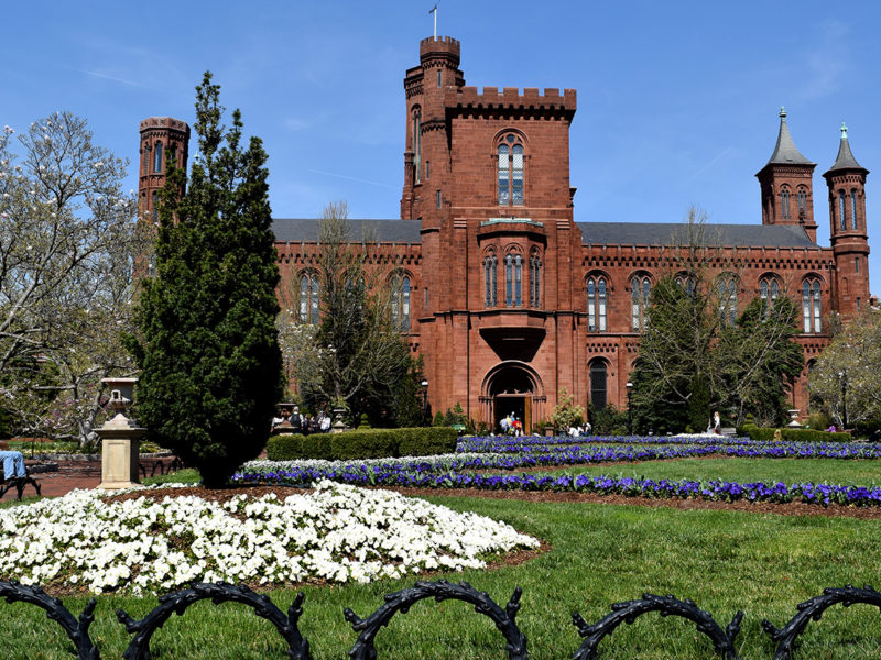 Smithsonian Castle from The Enid A. Haupt Garden in Washington, D.C.