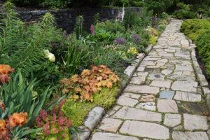 stone pathway in the Bishop's Garden, Washington National Cathedral in Washington, DC