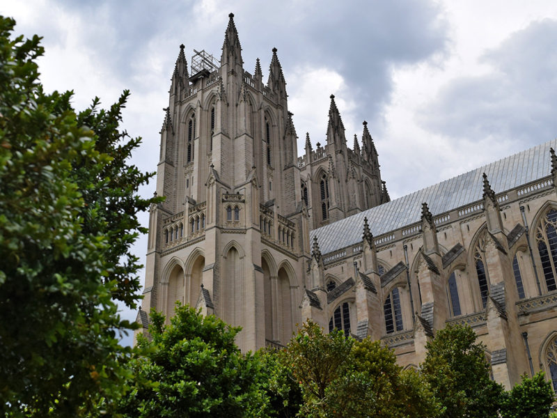 view of the cathedral from the Bishop's Garden, Washington National Cathedral in Washington, DC