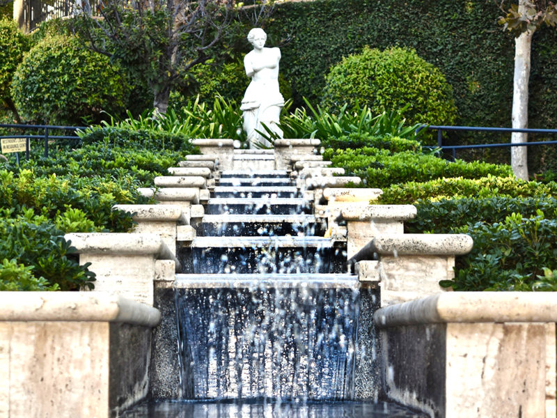 authentic chain fountain in the Italian Garden at the Gardens of the World in Thousand Oaks, California.