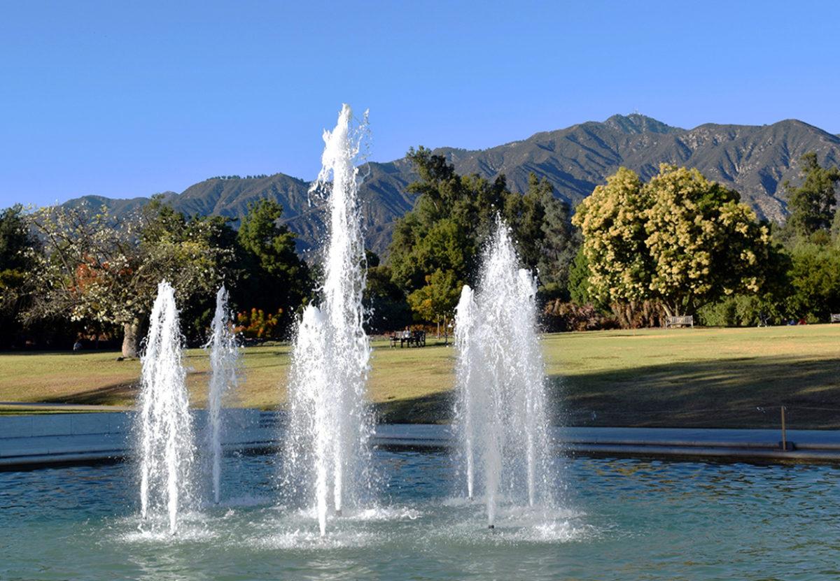 main fountain at the LA Arboretum & Botanic Garden in Arcadia, California.