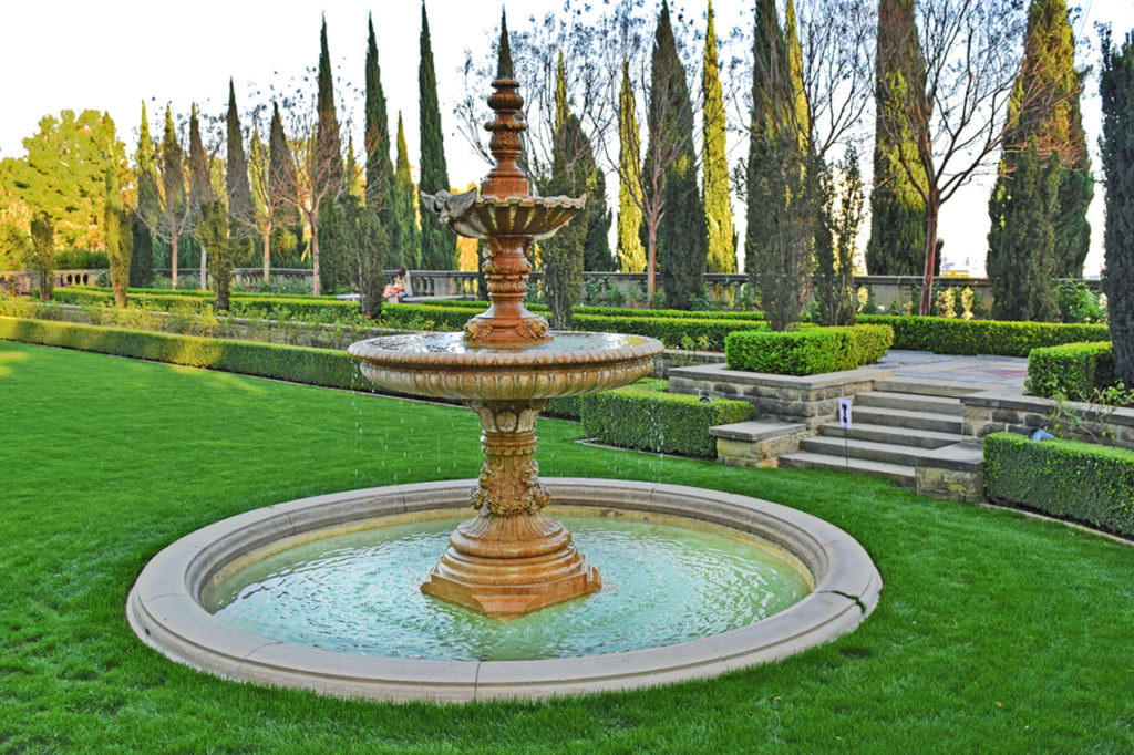 fountain in Greystone Mansion & Gardens in Beverly Hills