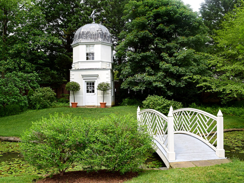 Summerhouse and bridge at William Paca House & Garden in Annapolis, Maryland