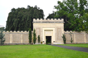 view of the Walled Garden from the outside at Untermyer Park & Gardens Yonkers, New York