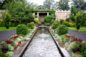 waterway, plantings, and trees of the Walled Garden at Untermyer Park & Gardens Yonkers, New York