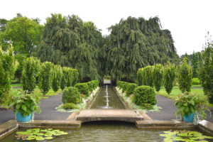 waterway and trees of the Walled Garden at Untermyer Park & Gardens Yonkers, New York