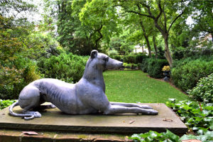 dog statue at Tudor PlaceHistoric House & Garden in Washington, DC