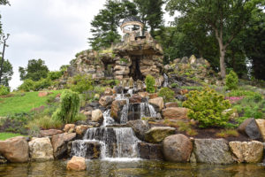 Temple of Love and surrounding gardens and waterfall at Untermyer Park & Gardens Yonkers, New York