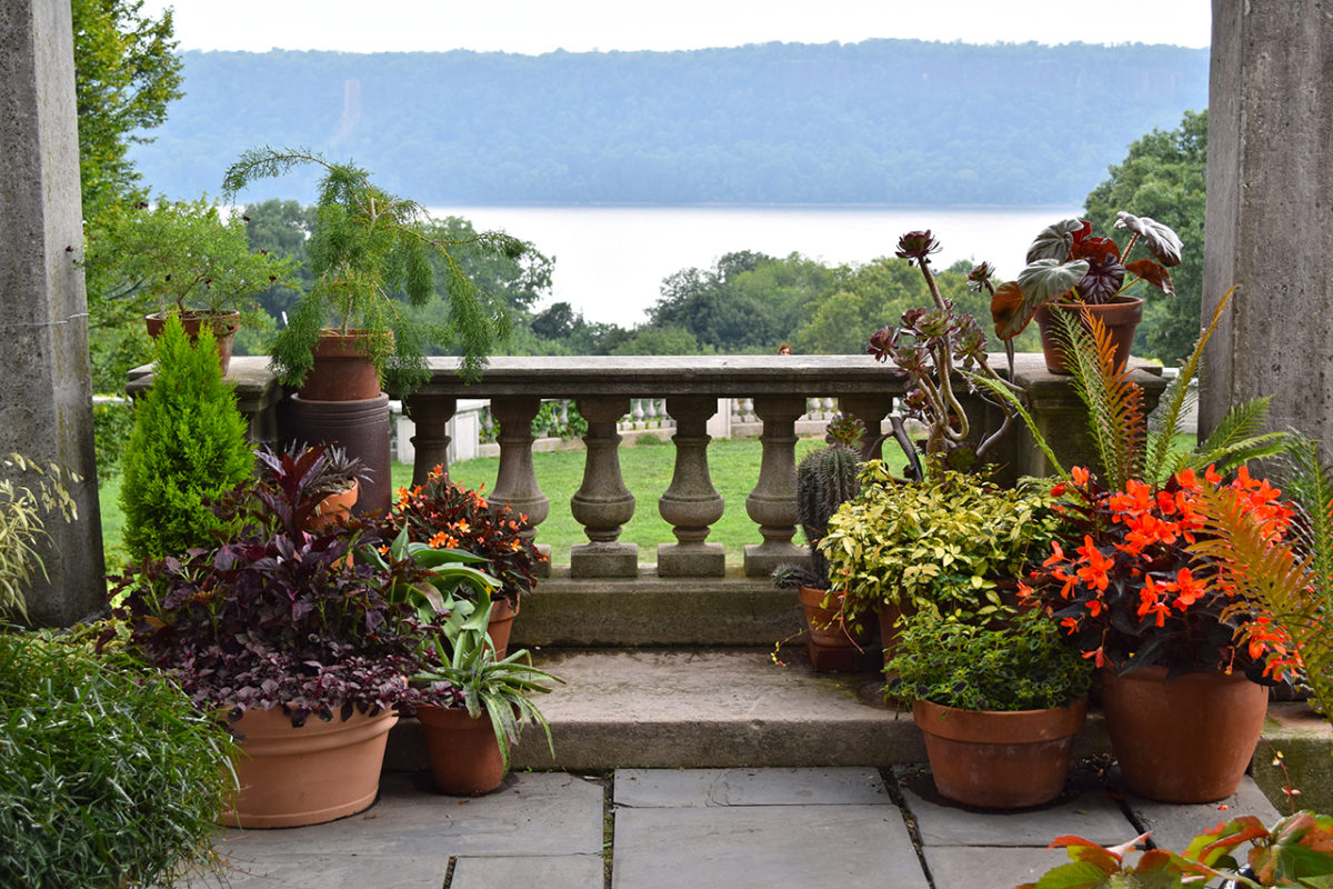 Pergola Overlook with views of the Hudson River at Wave Hill in Bronx, New York